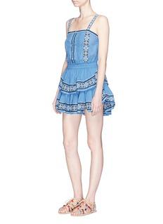 LoveShackFancy'Anna' cross stitch ruffle mini dress