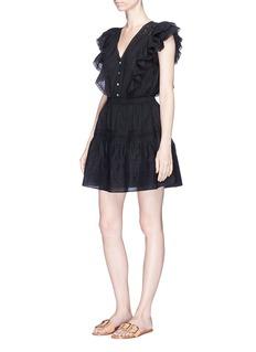LoveShackFancy'Sylvie' crochet lace trim mini dress
