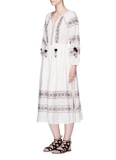LoveShackFancy'Isla' cross stitch pompom tie dress