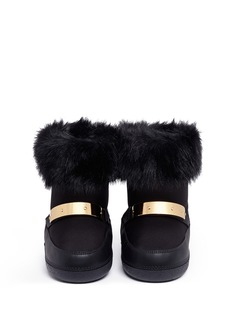 Giuseppe Zanotti Design 'Sammy Junior' faux fur cuff leather kids boots