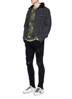 Amiri 'MX1' leather patch ripped skinny jeans
