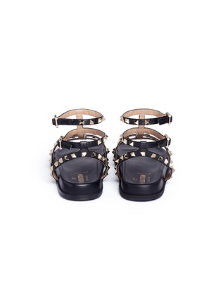 Back View - Click To Enlarge - Valentino - 'Rockstud' caged calfskin leather sandals