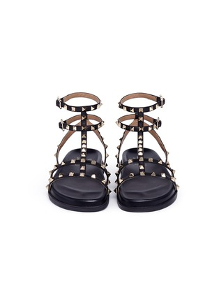 Front View - Click To Enlarge - Valentino - 'Rockstud' caged calfskin leather sandals