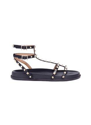 Main View - Click To Enlarge - Valentino - 'Rockstud' caged calfskin leather sandals