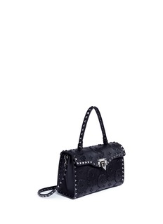 Valentino Beaded floral patch small leather crossbody bag