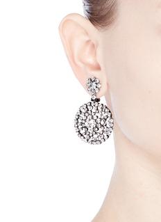 Kenneth Jay LaneGlass crystal floral drop clip earrings