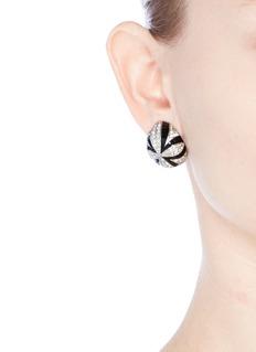 Kenneth Jay LaneEnamel glass crystal pavé dome clip earrings