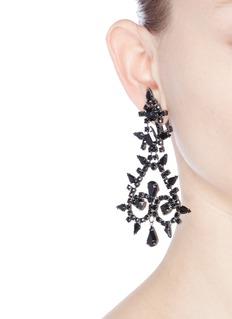 Kenneth Jay LaneGlass crystal chandelier clip earrings