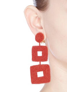 Kenneth Jay LaneSeed bead square drop clip earrings