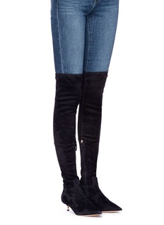 Valentino Screw heel suede thigh high boots