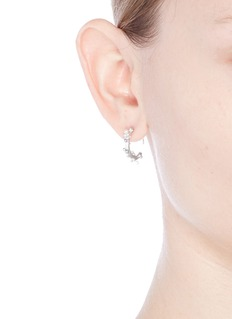Belinda Chang 'First Frost' pearl rhodium plated small hoop earrings