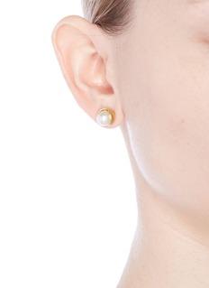 Obellery'Fruity' gold plated pearl stud earrings