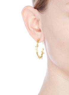 Obellery'First Frost' freshwater pearl large hoop earrings
