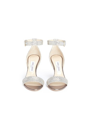 Front View - Click To Enlarge - Jimmy Choo - 'Edina 85' sculpted heel glitter sandals