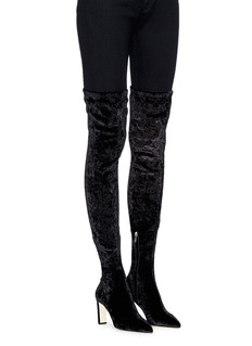 Jimmy Choo 'Lorraine 85' crushed velvet thigh high boots