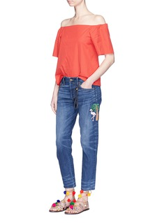 Tortoise x The Webster flamingo and palm tree embroidered cropped jeans