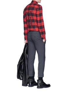 Neil Barrett Slogan print gingham check flannel shirt