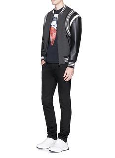 Neil Barrett Faux leather sleeve neoprene bomber jacket