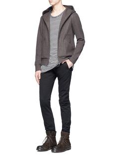 ATTACHMENT Wool-cashmere melton zip hoodie