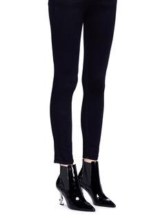 Saint Laurent 'Opyum 85' logo heel patent leather Chelsea boots