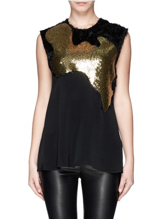 Main View - Click To Enlarge - 3.1 Phillip Lim - Sequin paillette silk fringe top