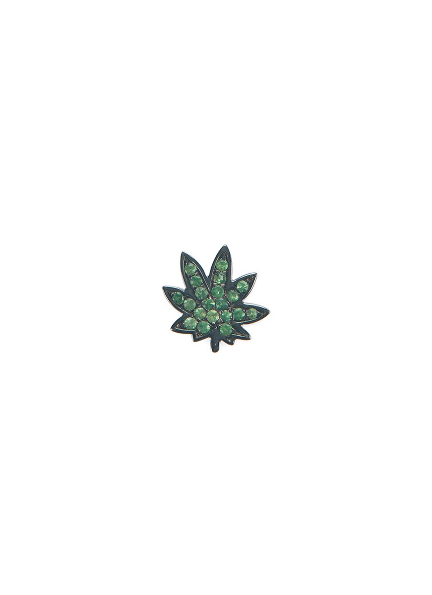 LOQUET LONDON 18k black gold tsavorite hemp leaf charm