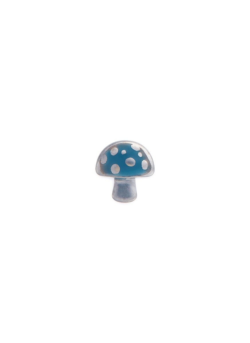 LOQUET LONDON 18k white gold enamelled mushroom charm
