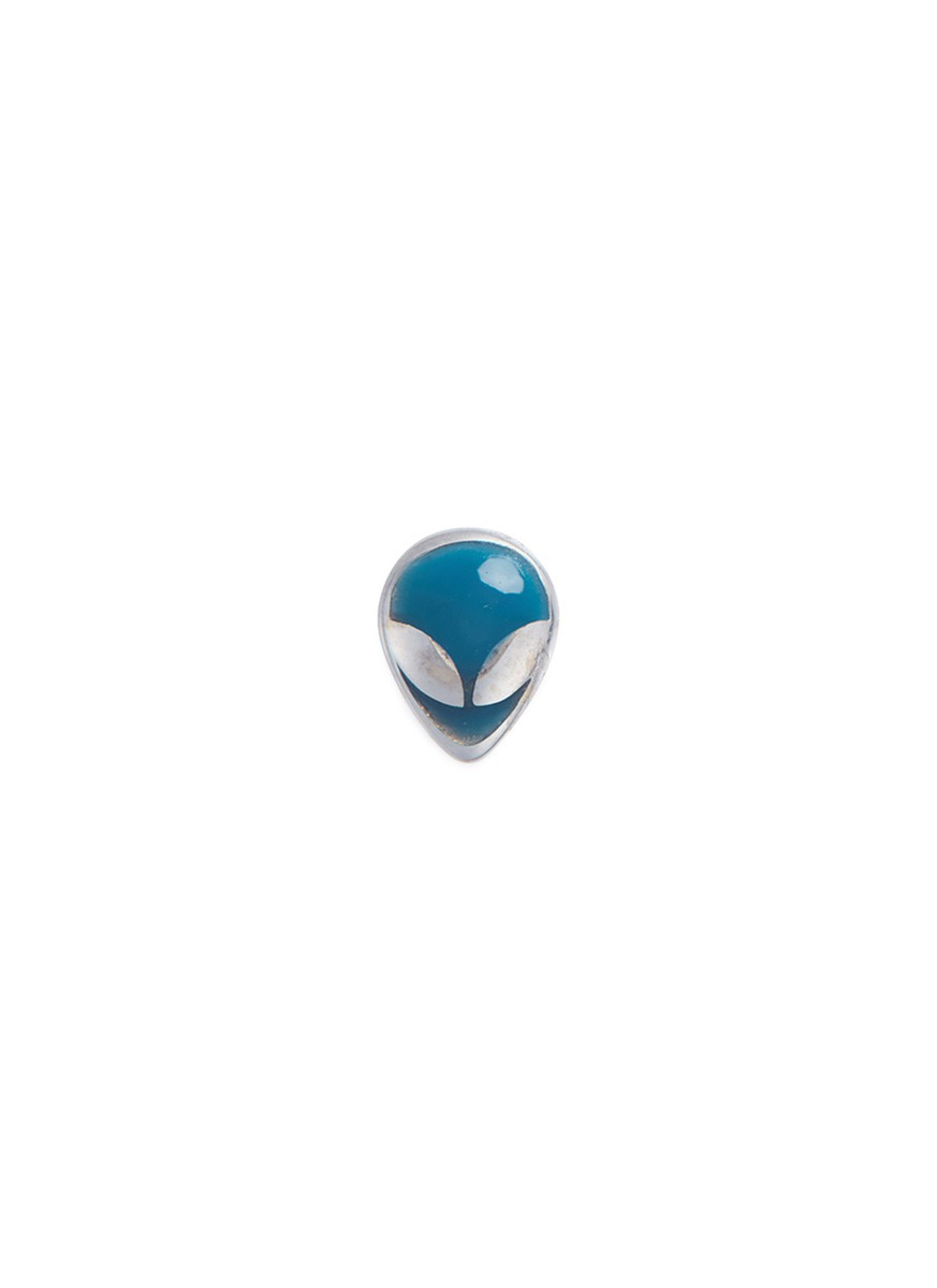 LOQUET LONDON 18k white gold enamelled alien head charm