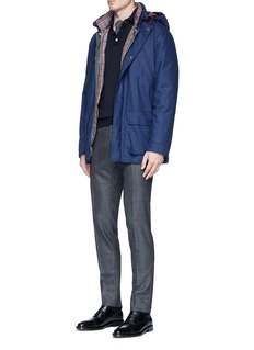 ISAIA Two-in-one wool tweed and check plaid puffer jacket
