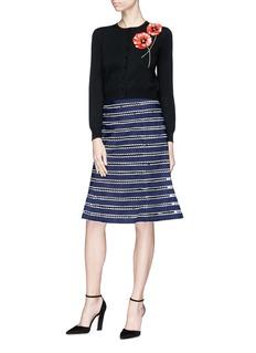Oscar de la Renta Ribbon stripe tulle flared skirt