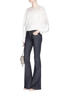 Oscar de la RentaLace yoke silk crepe blouse