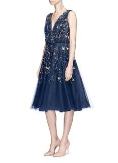 Oscar de la Renta Floral sequin tassel silk tulle cocktail dress