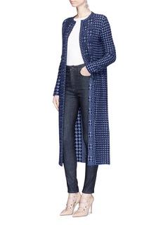 Oscar de la RentaHoundstooth jacquard wool knit long coat