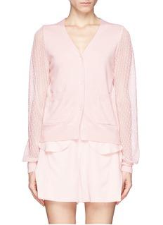 CHLOÉEmbroidered lace sleeve cashmere cardigan