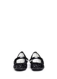 STUART WEITZMAN Fannie Dancer幼儿款亮片波点天鹅绒芭蕾平底鞋