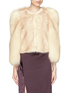 GIVENCHYMink fox fur and turkey feather cropped jacket