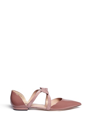 Main View - Click To Enlarge - GIORGIO ARMANI - Suede ribbon patent leather d'Orsay flats