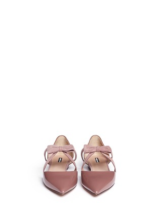 Figure View - Click To Enlarge - GIORGIO ARMANI - Suede ribbon patent leather d'Orsay flats