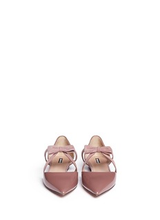 GIORGIO ARMANISuede ribbon patent leather d'Orsay flats