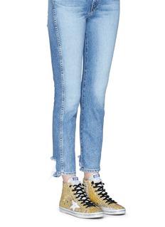 Golden Goose'Francy' stripe coarse glitter high top sneakers