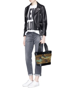 Alexander Wang  Leather panel camouflage print canvas tote