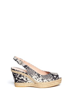 STUART WEITZMAN'Jean'' snakeskin-effect leather espadrille wedge sandals