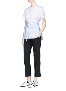Cédric Charlier Stripe tie apron hem T-shirt