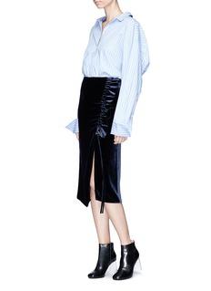 Cédric Charlier Drawstring ruched ruffle velvet midi skirt