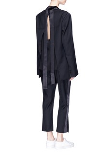 Dion Lee 'Evening' satin outseam cropped wool tuxedo pants