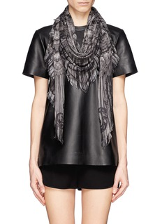 ALEXANDER MCQUEEN Ruffle and lace print scarf