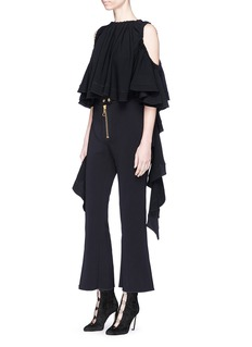 Ellery 'Baby' ruffle sash drape cropped cold shoulder top