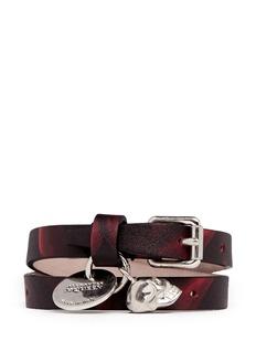ALEXANDER MCQUEENDouble wrap camouflage print skull charm leather bracelet