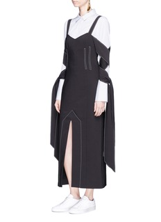 Ellery 'Magik' tie sleeve crepe long dress