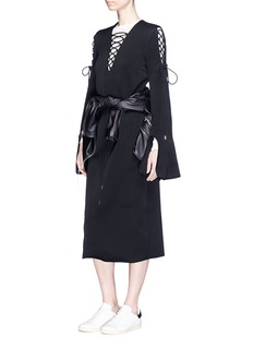 Ellery 'Crescendo' lace-up flared sleeve long dress